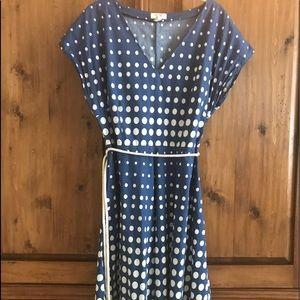 Lands End Canvas 1963 Blue & Ivory Dot dress